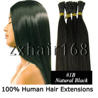 Wholesale 100S quot quot Remy Stick tip hair Human Hair Extensions B Natural black mix