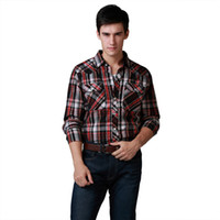 Wholesale Shirt Pattern Mens Shirts Western Long Sleeve Cotton Plaid Shirt High Quality Plus Size Washed Size S M L XL