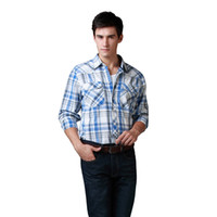 Wholesale Sales Western Shirts Young Mens Shirts Cotton YD Check Metallic silver thread interwoven Bule White American Size