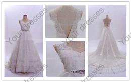 Wholesale 2012 Customized Elegant Wedding Dresses V Neck sleeveless Chapel Train White Lace Satin Bridal Gown