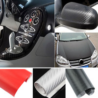 Wholesale 1 M x cm DIY Carbon Fiber Wrap Roll Sticker For Car Auto Vehicle Detailing