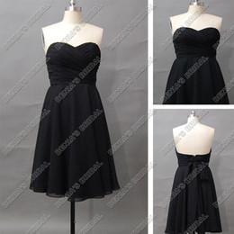 2012 Elegant Black Bridesmaid Dress Strapless Sweetheart Chiffon Sash Tea Length Actual Real Images