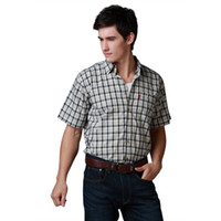 Wholesale Mens S S Shirts Khaki Black Colors Check Cotton Guarateed Quality Flat Lap Shirt US Size S XXL