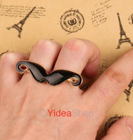 Wholesale 40pcs Enamel Black Vintage Cosplay Handlebar Mustache Moustache Double Finger Adjustable Ring