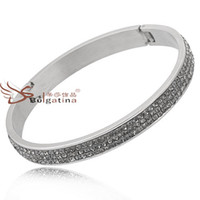 Wholesale Cut Diamond Pave Setting Bangles Jewelry Cheap Bangles Stainless Steel Jewelry Bracelets