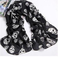 Wholesale high quality fashion Chiffon Korea style skeleton head scarf lady s shawl free shippng