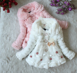Wholesale Children s Baby Girl s Long Sleeve lovely Feather floral Pearl pendant coat girls coat