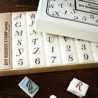 Wholesale New number and uppercase letter DIY rubber stamp set per set gift box