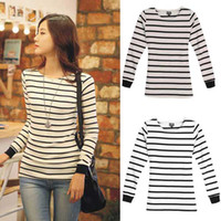 Wholesale Women autumn clothing Long Sleeve T Shirt loose Short stripe Round T short S M L XL