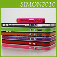Wholesale TPU bumper Protector frame case cover skin with matel button for IPHONE S G TH Mutil Colors NEW