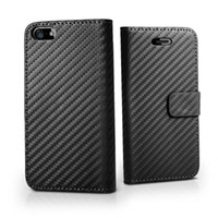 Wholesale 50pcs Wallet Book Flip Carbon Fibre Leather Hard Case Cover For Iphone G