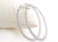 Wholesale Silvertone Big Circle lady s Basketball Wives Hoop Earrings With Crystal Rhinestone Dangle Earring