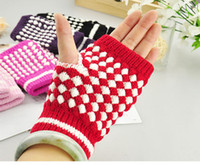 Wholesale Hot Warm Gloves Half finger Gloves Colorful Pineapple Pattern Thicken Computer Knitted Gloves pair