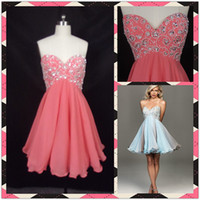 Wholesale Light Sky Blue Pink Sweetheart Beadings Sequins Organza Homecoming Dresses Party Cocktail Dress Gown