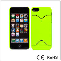 Plastic For Apple iPhone For Apple iphone 5 5G Rubber Plastic PC Hard Case Cover With ID Credit Card Slot For iphone5 iphone 5 5G 5GC65 200PCS