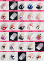 Nail Art 3D Decoration 3D Molds  50 Set lot + Pre Designed French Acrylic False Nail Full Cover Tips + Nail Glue (24 tips in a set)
