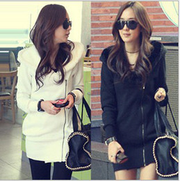 New Korea Casual Long Thicken Fleece Women's Hoodies Sweatshirts Zip Up Slim Fit Warm Coat