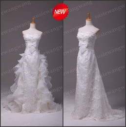 Wholesale 2012 Custom made A line Strapless Lace Removable Sweep Train Tiered Organza Wedding Dresses