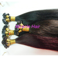 "black straight 1.0g 20"" #99J Dark Wine 100g (1g strand) Indian Remy Human Hair Pre bonded Flat Tip Keratin Glue Hair Extensions AAA Grade DHL Free shipping"