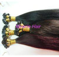 Cheap black human hair Best straight 1.0g glue hair