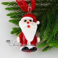 Navidad Papá Noel de cristal murano murano hecho a mano colgantes italia para la joyería collar de porcelana barata bisutería mup119
