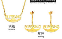 Earrings & Necklace Quartz Gold rare style gold filled women's chain bless word necklace earings set laiba