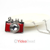 Wholesale 5pcs New Fashion Red Enamel Retro Style Lovely Sweet Mini camera Pendant Long Necklace