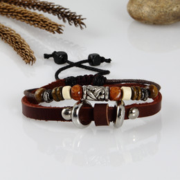 Free size genuine leather charm bracelets jewelry for men and women unisex