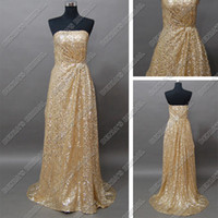 Wholesale Sexy Gold Sequins Lace Evening Party Dresses Floor Paillettes Beaded Length Real Actual Images