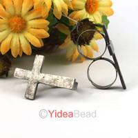 Unisex Cluster Rings  15pcs HOT Free Postage Vintage Adjustable Metal Cross Double 2 Finger Ring 260962