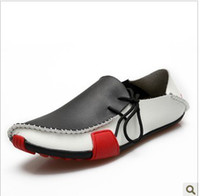 Wholesale Fashion casual shoes men s leather air permeability low driving British men s boat shoes flow