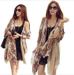 Wholesale NEW Bohemian Totem Vintage Flowers Shawl Scarf Tassel Long silk scarves