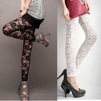 Wholesale Hot sell Woman Lace Nine minutes of pants Rose Flower Leggings Black and White T
