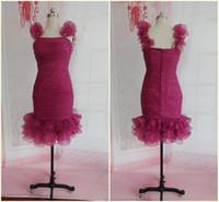 Wholesale Actual Samples Organza Strap Sheath Paillette Pleat Knee Cocktail Dresses Gowns G58