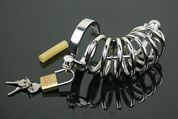 Wholesale Locking Cock Cage Plug - Large Cock Cage with Urethral Sound Penis Plugs Male Chastity Device Stainless Steel Chastity Belts Cock Lock Urethral Sounding Bondage Gear