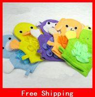 Wholesale Children s Bath Gloves Bath Rub Kids Five Colors Cartoon Style With Bath Flower Toddler Bath Gloves