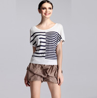 Wholesale Women s Knit T shirt Black White Striped Cotton T shirt Short Sleeve T shirt Fashion Sweater pullover