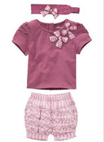 Wholesale 5sets New Arriving AMISSA pink butterfly beadband top lace pants Baby Clothing Set Baby C