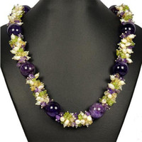 Women's Party pearl & amethyst New Arrive Jewelry Christmas Gift ! Natural Amethyst Pearl Citrine 19inch 6-16MM Handmade Jewelry
