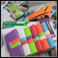 Leather For Apple iPhone  Leather Wallet for Iphone 5 Cradit Card Slots Flip Pouch Case Cover For Iphone5 5G 500pcs