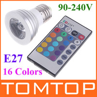 Telecomando IR E27 16 Colori RGB, luce di lampadina del LED 3W 90~240V H1492 5pcs/lot