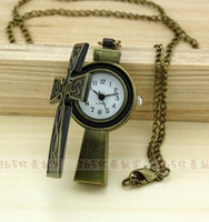 Wholesale Restore ancient ways necklace sweater chain bronze cross pocket watch supe sw