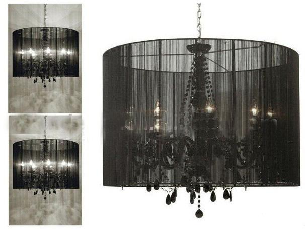 European Style Black Glass Crystal Chandelier Pendant Lamp Bedroom