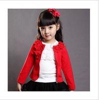 Wholesale Autumn Elegant Girl s Flower Solid Jacket Princess Style Children s Full Sleeve Coat