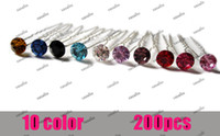 Wholesale 200pcs Crystal Hair Pin For Wedding Fashion Alloy Hair Clips Lady Hair Jewelry Hairpin Mix Color