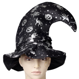 Wholesale Pumpkin Bent Sorcerer Hat Witch CreScent Cap Halloween Supplies Masquerade Accessories
