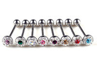 Unisex Stainless Steel Tongue Rings 12pcs Mix Color Fashion Tongue Barbell Ring Full Diamond Tongue Stud Piercing Body Jewelry Wholesale