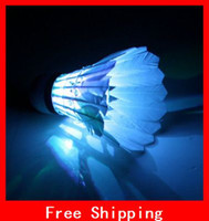 Wholesale Brand New LED Badminton Feather Shuttlecocks Birdies Blue Red Green Color