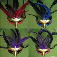 Wholesale Hot Sale Halloween Feather Mask Masquerade Party Festival Bar Mask Lady Mask Mixed Color