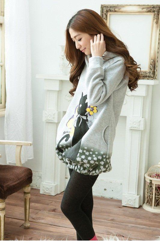 Cat Pattern Long Sleeve Gray Sweater Dresses For Women